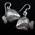 Thai Hill Tribe Earrings Fine Silver karen tribal Fish bell ER182