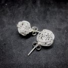 Thai Hill Tribe Stud Earrings Pure Silver Ethnic Tribal Knit Balls R519