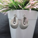 Thai Hill Tribe Earrings Pure Fine Silver Ethnic Dangle Hooks Leaf Party R523