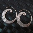 Thai Hill Tribe Earrings Fine Silver argento orecchini Deluxe Hoop Roll Engraved