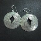Orecchini d'argento Hill Tribe Fine Sterling Silver Earrings Round Lotus Engrave