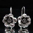 Thai Hill Tribe Earrings Fine Pure Silver Hook Flower Rose Ohrringe الأقراط