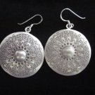 Thai Hill Tribe Earrings Fine Silver vintage charming engrave Round Sun Aznec
