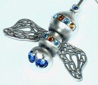 Siver Bee-Sapphire-Purse Handbag Hook Hanger & Pouch