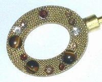 Gold Oval-Tigers Eye-Purse Handbag Hook Hanger & Pouch