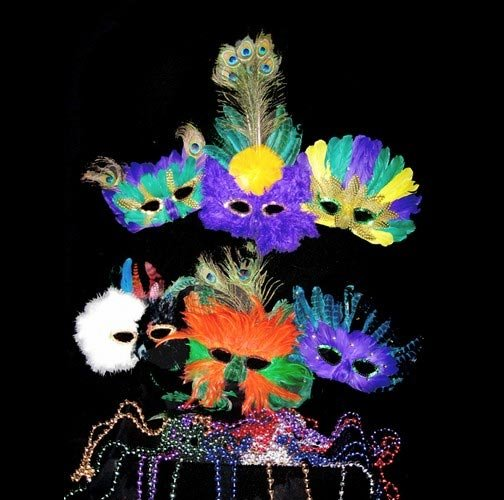 Mardi Gras Package Masks & Beads