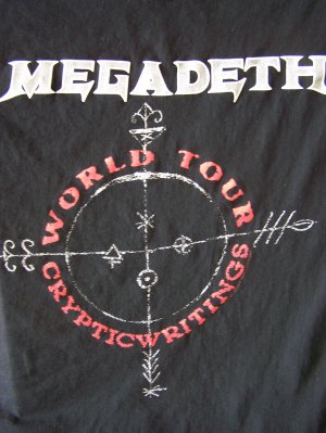 Megadeth 'Cryptic Writings World Tour' T-Shirt Sz. XL