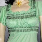 Vintage 1970's Margarita Green Flutter Sleeve Empire Babydoll Hippie Top S/XS
