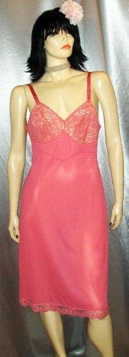 VANITY FAIR Vintage 50's Pink Nylon Sheer Lace Bust Full Slip SZ. 36