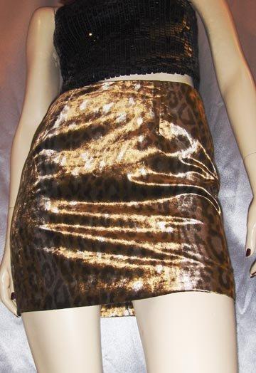 Vintage 90s Designer CYNTHIA ROWLEY Plush Velvet Leopard Print Mini Skirt ~XS