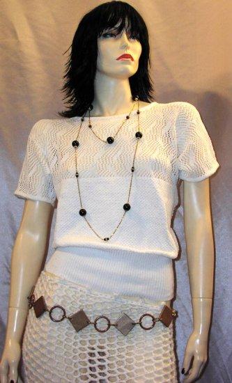 MINT Vintage 80's JORDACHE Peek-A-Boo Crochet Knit Slouchy Sweater Top