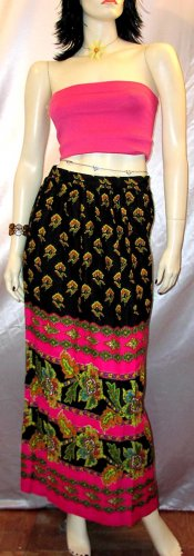 Vintage 60s 70's Hippie Maxi Peasant Skirt PSYCHEDELIC KALEIDOSCOPE S.