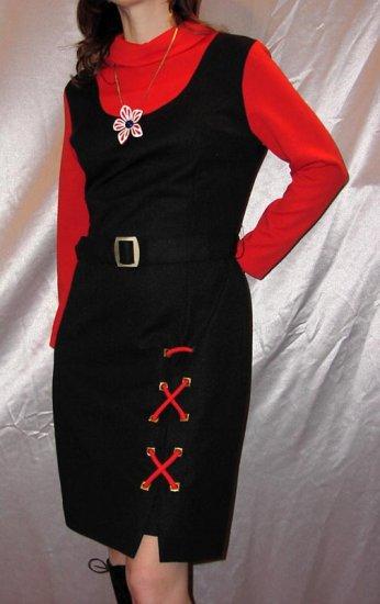ATOMIC SPACE AGE MOD Belted Jumper Dress Vintage 70's M.