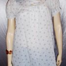 Vintage 70's LANZ Puff Slv Babydoll Ruffle Flower Top M.