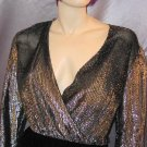 Vintage 70's *SILVER SPARKLE* DEEP V Glitter Velvet WRAP PARTY DRESS M.