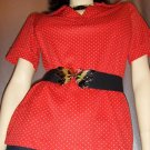 Vintage 70&#39;s ROCKIN&#39; RED POLKA DOTS ROCKABILLY-GAL TOP M.