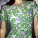 Vintage 60's MOD Flower Power Flirty Floral Springtime Dress S/M