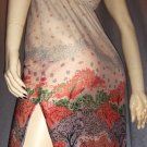 Vintage Boho 70's Autumn Leaves Border Print Pencil Dress