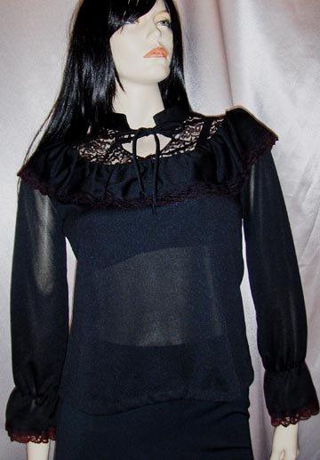 Vintage 70s Gothic Lolita Black Ruffle Lace Blouse Top L