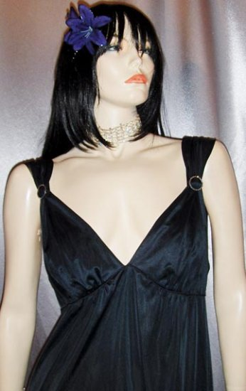 SEXY GLAM Deep V Slinky Black MOVIE STAR Vintage Evening Gown M.