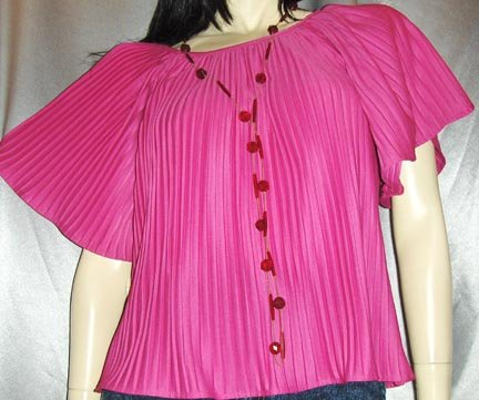 HOT ELECTRIC PINK 80's DISCO TOP~Crystal Pleat ~Angel Slvs~MINT NWT