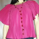 HOT ELECTRIC PINK 70's DISCO TOP Crystal Pleat Angel Slvs NWT
