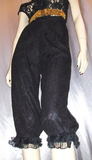 Vintage 80's BLACK LACE Ruffled Bloomer Pantaloon Pants S/XS burlesque glam