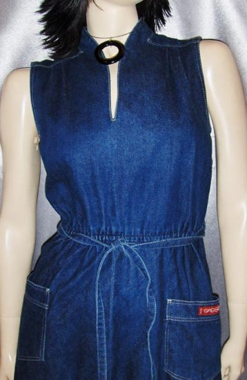Vintage 80's Denim DISCO Designer Dress SASSON ~RARE SZ 8/9 S.