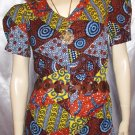 70's PATCHWORK PRINT  PRAIRIE GIRL DRESS  Puff Slv S. boho hippie