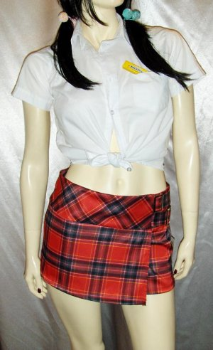 2 KOOL 4 SKOOL Sassy Schoolgirl Lolita Outfit Plaid Mini Skirt & Top S/XS dress up costume