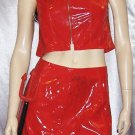 SEXY SHE DEVIL Red Vinyl WET LOOK PVC Mini Skirt & TOP Outfit  M. JR.