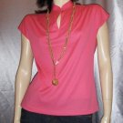 ELECTRO NEON PINK 70s GLAM Flirty Keyhole Top M.