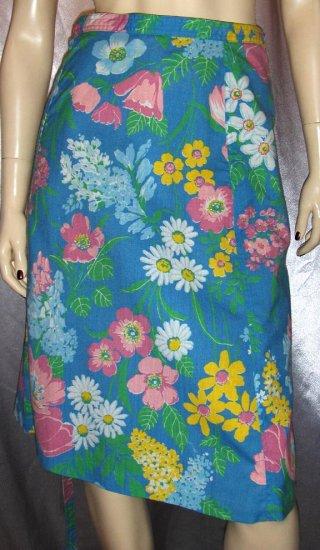 SPRING FLING 70s Floral Print vintage WRAP SKIRT M.