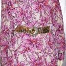 PURPLE PASSION Exotic Floral Print Tie Neck Dress vintage 70's XXL
