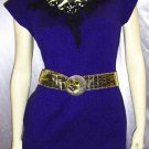 FLASHY 80s Electric Purple Lycra Wiggle MINI DRESS disco diva M
