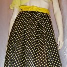 vintage ROCKABILLY GAL Yellow Polka Dot Print A-line 70s Skirt M.