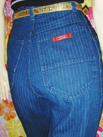 Vintage 80s ZENA High Waisted PIN STRIPE Denim DISCO JEANS S.