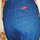 Vintage 80s ZENA High Waisted PIN STRIPE Denim DISCO JEANS S.