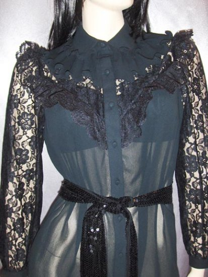 GOTHIC LOLITA AVANT GARDE SHEER Black Lace WICKED COUNTESS Victorian Style vintage 70s Dress M.