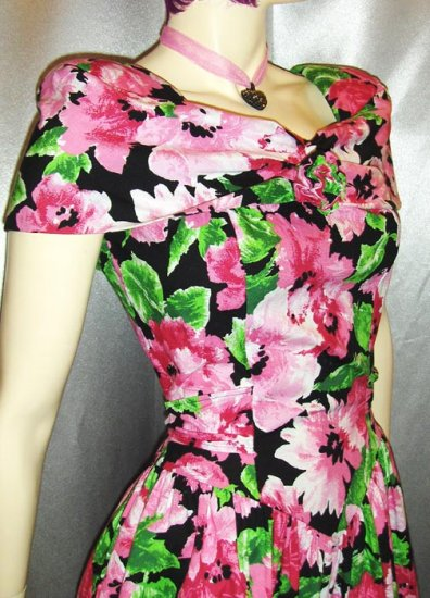 80s does 50s Springtime Flirty Floral Circle Skirt PARTY PROM Mini Dress SZ 7