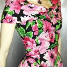 80s Springtime Flirty Floral Circle Skirt PARTY PROM Mini Dress SZ 7
