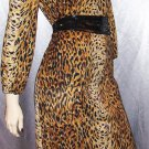 SASSY CAT Vintage 70s LEOPARD PRINT Top & Skirt Set Outfit L XL