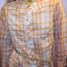60s Flirty MOD SCHOOLGIRL Tangerine Plaid Print Shirtdress M