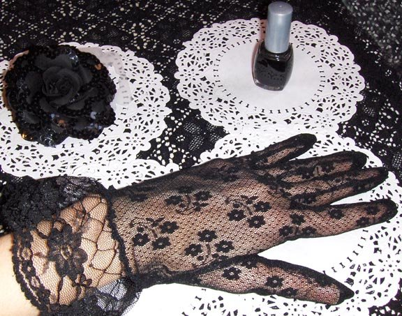 GOTH GIRL Lady In Black 3 Piece ACCESSORIES SET