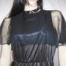 WICKED DIVA Sheer Black WET LOOK vintage 70s SEXY DISCO DRESS S/M goth glam