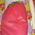 SEXY 60s MOD ELECTRO NEON Pink Satin Slip Skirt S pinup glam