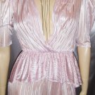 DISCO PRINCESS Iced Pink PUFF SLV Peplum Party Dress S. vintage glam