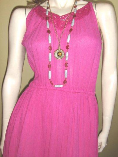 BOHO BEAUTY 70s Pink Crinkle Gauze Hippie Sun Dress
