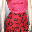 DRAPED IN RED ROSES 50s 60s Glam Cocktail Party Wiggle Dress S XS vintage vixen