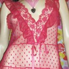 The Naughty Sex Kitten SHEER Hot Pink Frilly Chiffon Nightgown L